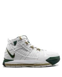 weiße und grüne hohe Sneakers aus Leder von Nike