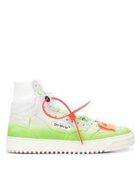 weiße und grüne hohe Sneakers aus Leder von Off-White