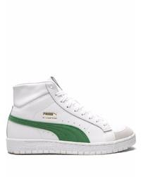 weiße und grüne hohe Sneakers aus Leder von Puma