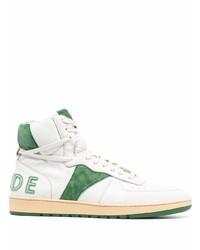 weiße und grüne hohe Sneakers aus Leder von Rhude