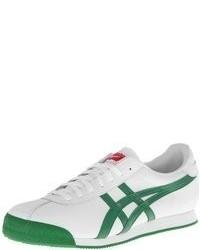 weiße und grüne Leder niedrige Sneakers