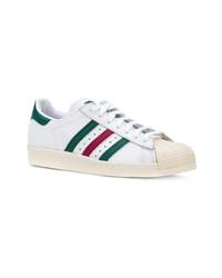 weiße und grüne Leder niedrige Sneakers von adidas