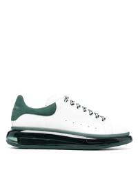 weiße und grüne Leder niedrige Sneakers von Alexander McQueen