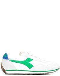weiße und grüne Leder niedrige Sneakers von Diadora