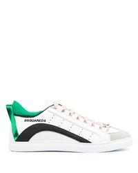 weiße und grüne Leder niedrige Sneakers von DSQUARED2