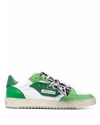 weiße und grüne Leder niedrige Sneakers von Off-White