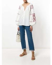 weiße und rote bestickte Folklore Bluse von Wandering
