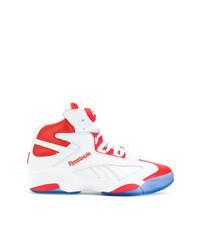 weiße und rote hohe Sneakers aus Leder