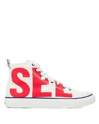 weiße und rote hohe Sneakers aus Segeltuch