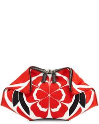 weiße und rote Leder Clutch