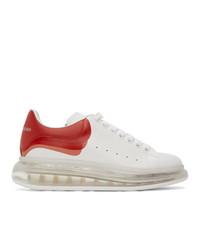 weiße und rote Leder niedrige Sneakers von Alexander McQueen