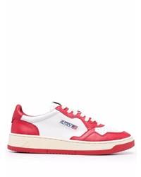 weiße und rote Leder niedrige Sneakers von AUTRY