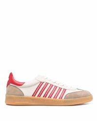 weiße und rote Leder niedrige Sneakers von DSQUARED2