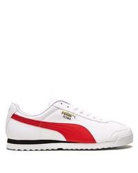 weiße und rote Leder niedrige Sneakers von Puma