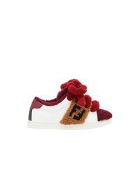 weiße und rote niedrige Sneakers von Fendi