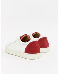 weiße und rote niedrige Sneakers von Selected Homme