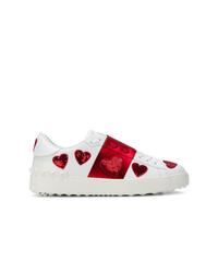 weiße und rote niedrige Sneakers von Valentino