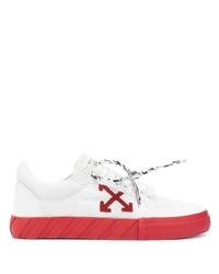 weiße und rote Segeltuch niedrige Sneakers von Off-White