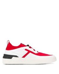 weiße und rote Segeltuch niedrige Sneakers von Tod's
