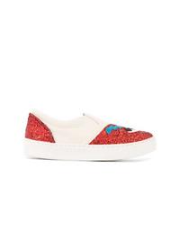weiße und rote Slip-On Sneakers von Chiara Ferragni