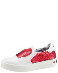 weiße und rote Slip-On Sneakers von Love Moschino