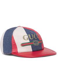 weiße und rote und dunkelblaue Baseballkappe von Gucci