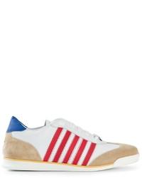 weiße und rote und dunkelblaue horizontal gestreifte niedrige Sneakers