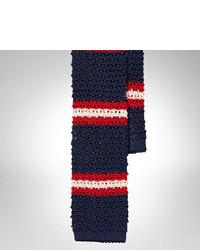 weiße und rote und dunkelblaue horizontal gestreifte Wollkrawatte