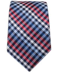 weiße und rote und dunkelblaue Krawatte mit Schottenmuster