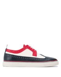 weiße und rote und dunkelblaue Leder Brogues von Thom Browne