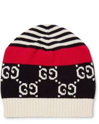 weiße und rote und dunkelblaue Mütze von Gucci