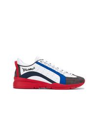 weiße und rote und dunkelblaue niedrige Sneakers von DSQUARED2