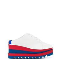 weiße und rote und dunkelblaue plateau Slippers von Stella McCartney