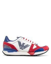 weiße und rote und dunkelblaue Sportschuhe von Emporio Armani