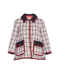 weiße und rote und dunkelblaue Tweed-Jacke