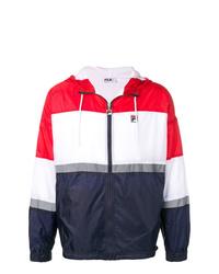 weiße und rote und dunkelblaue Windjacke