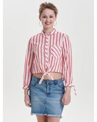 weiße und rote vertikal gestreifte Bluse mit Knöpfen von Only