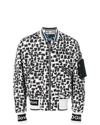 weiße und schwarze bedruckte Bomberjacke von Dolce & Gabbana