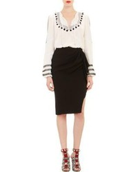 weiße und schwarze bedruckte Folklore Bluse