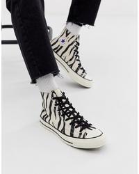 weiße und schwarze bedruckte hohe Sneakers aus Segeltuch