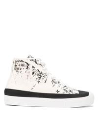 weiße und schwarze bedruckte hohe Sneakers aus Segeltuch von Stone Island