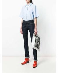 weiße und schwarze bedruckte Leder Clutch von Calvin Klein 205W39nyc