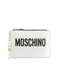 weiße und schwarze bedruckte Leder Clutch von Moschino