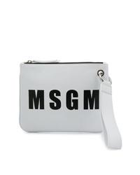 weiße und schwarze bedruckte Leder Clutch von MSGM