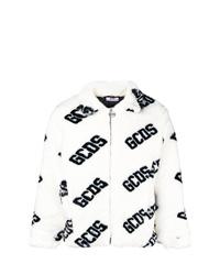 weiße und schwarze bedruckte Pelz Bomberjacke von Gcds