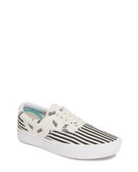 weiße und schwarze bedruckte Segeltuch niedrige Sneakers