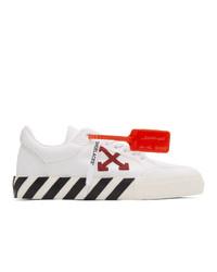weiße und schwarze bedruckte Segeltuch niedrige Sneakers von Off-White