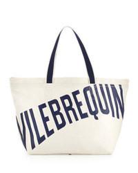 weiße und schwarze bedruckte Shopper Tasche aus Segeltuch