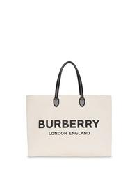 weiße und schwarze bedruckte Shopper Tasche aus Segeltuch von Burberry