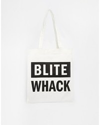 weiße und schwarze bedruckte Shopper Tasche aus Segeltuch von Cheap Monday